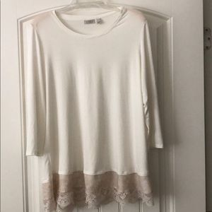 XL Logo cream tunic top with fancy lace and trim